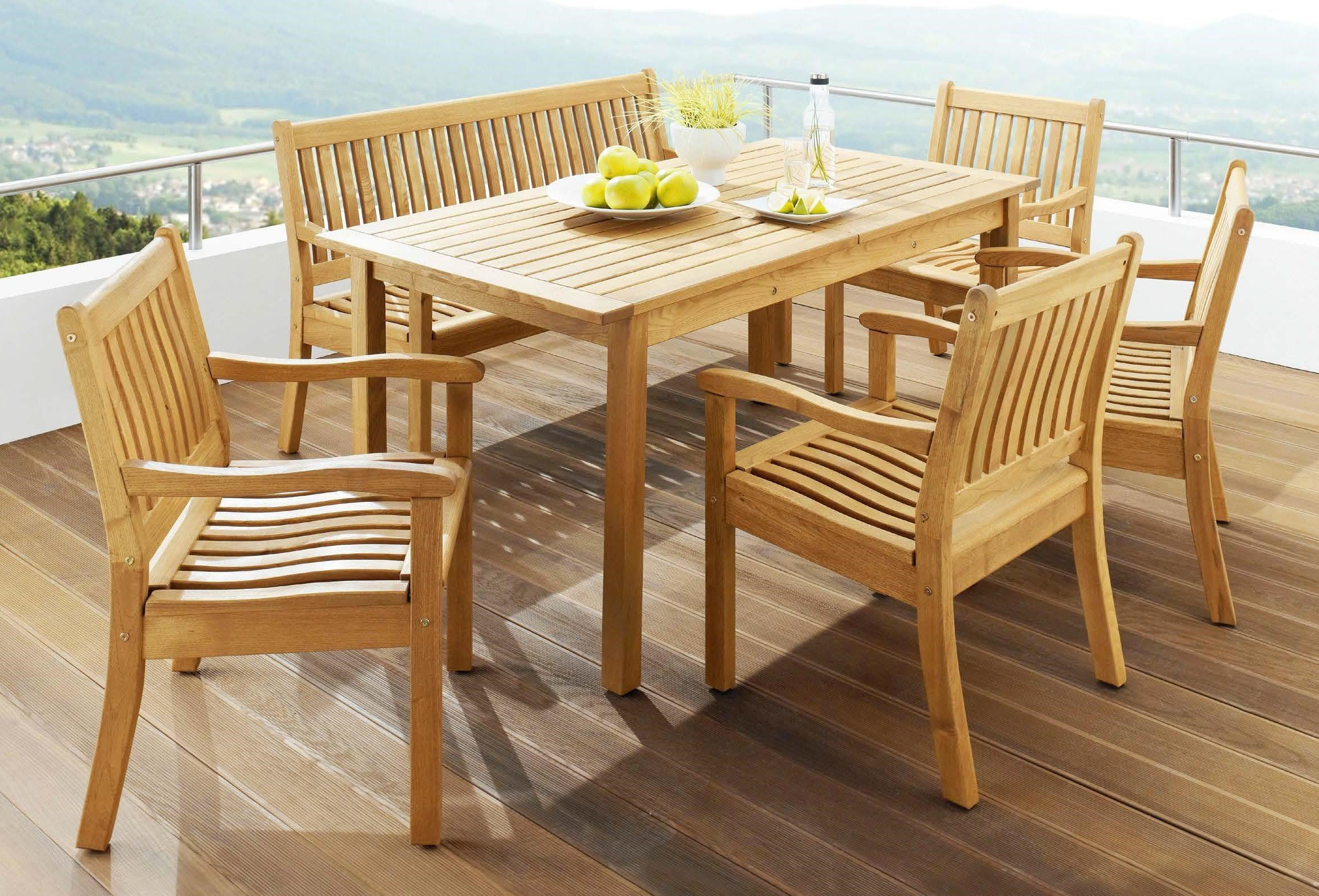 <p>Outdoor Furniture – Wooden Dining Collection Amalfi.</p> <p> </p> <p>Low-backed Armchairs, Rectangular Table & Bench.</p> <p> </p> <p>Ideal for Hotel Roof Terrace Bistros or Restaurants</p>