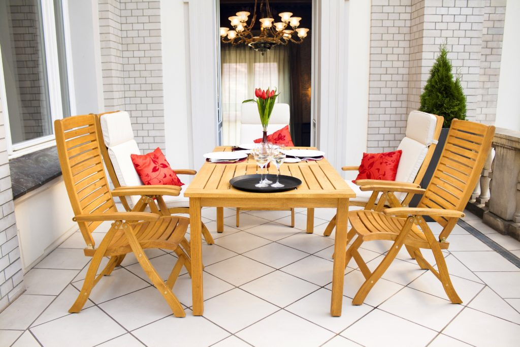 Roof Terrace Dining Set Rectangular Table, High-backed Armchairs
