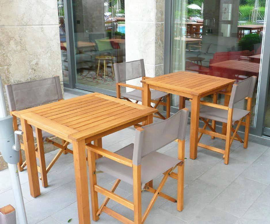 <p>Outdoor Furniture – Wooden Dining Collection Direttore.</p> <p> </p> <p>Casual Seating for Restaurant, Bistro, Hotel Pool Bars, Hospitality areas at events, exhibitions etc.</p> <p> </p> <p>Direttore Wooden Dining Furniture range available in 2 sizes of square or rectangular table with Director-Style Chairs Ideal for a creating a relaxed indoor or al fresco hospitality area</p>