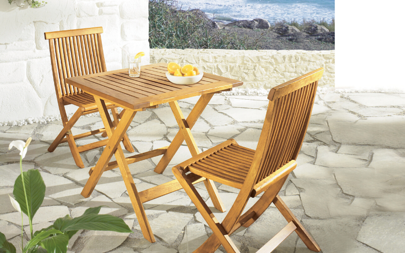 <p>Outdoor Furniture – Wooden Dining Collection Portofino.</p> <p> </p> <p>Portofino Furniture – Stylish modern foldable chairs and tables.</p> <p> </p> <p>Light, modern style elegant and comfortable foldable chairs with choice of 2 table sizes.</p>