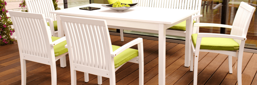 Positano stackable Chairs with table in a hotel restaurant terrace setting