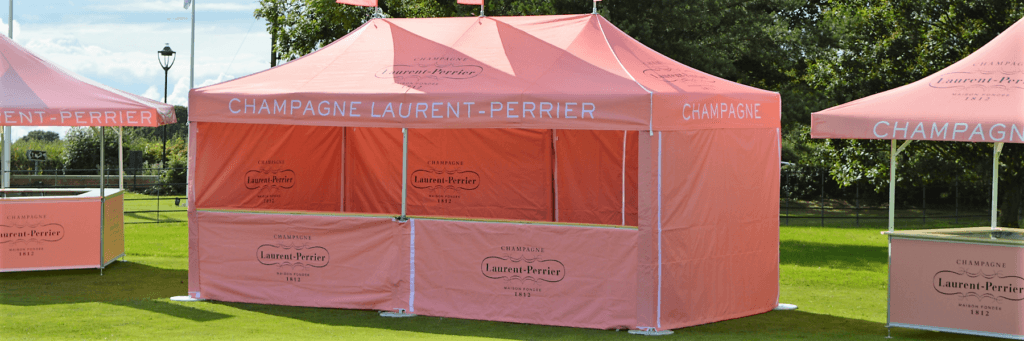 Premium Gazebo branded for Laurent Perrier Champagne with side walls, counters