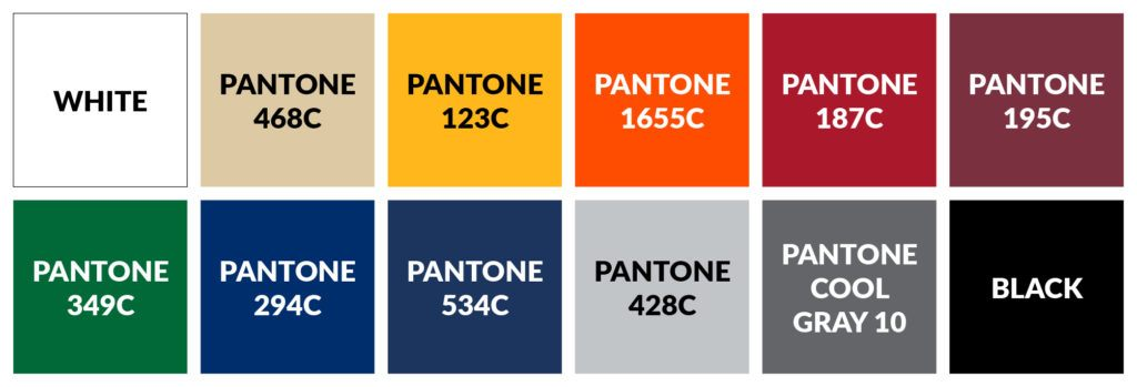 Image showing the standard colours folding tents are available in with Pantone colour codes