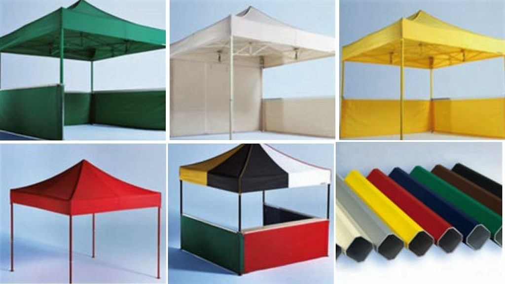 Image showing the examples of some of the folding tent colour combinations available, including frame colours
