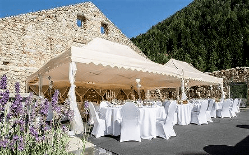 Premium Gazebo - Royal in Ecru situated within a Hotel Alfresco Dining space