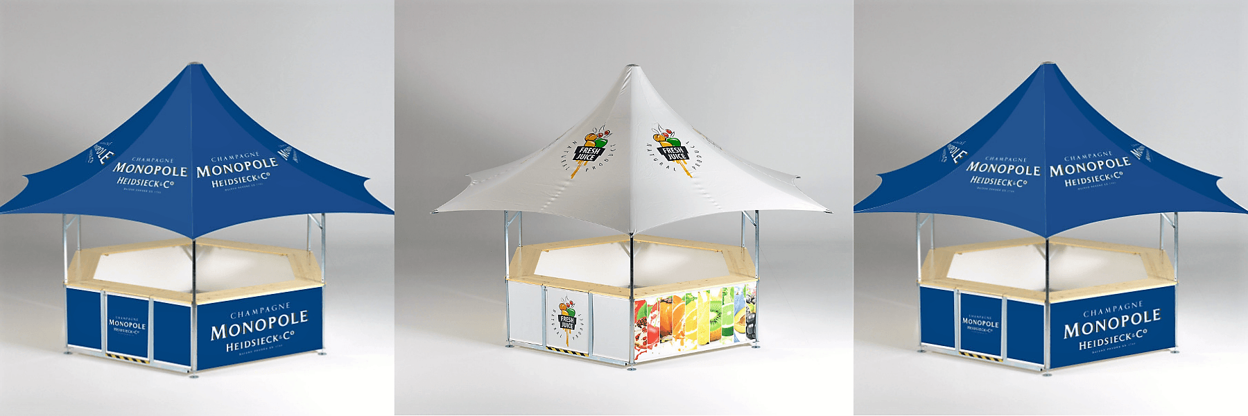 6-sided premium high-class star-shaped outdoor event bar showing 2 different designs