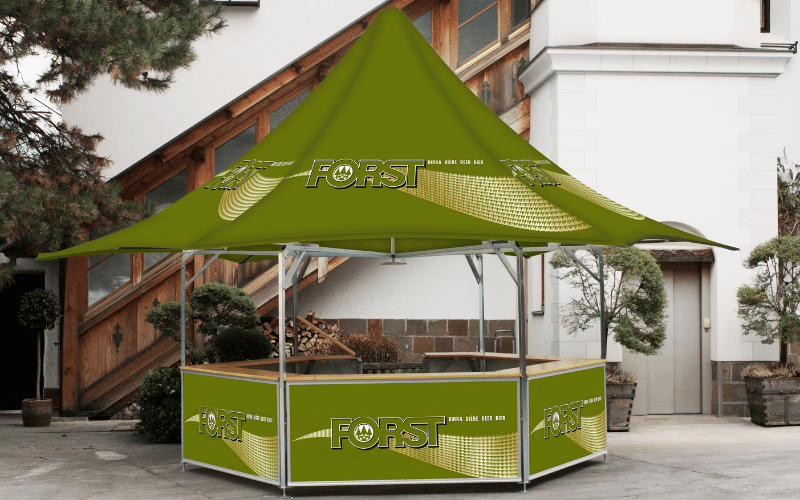 6-sided beer bar with star-shaped roof with fully branded roof and base panels