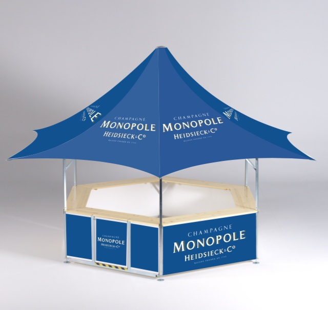 6-sided premium elegant high-class star shaped pavilion ideal for a premium drinks event bar