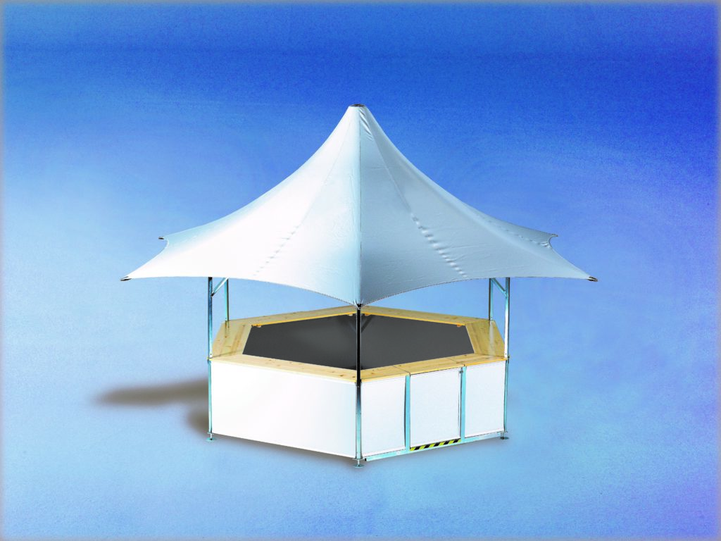 Studio image of 6-sided outdoor event bar set up with no branding – roof and base panels are plain white