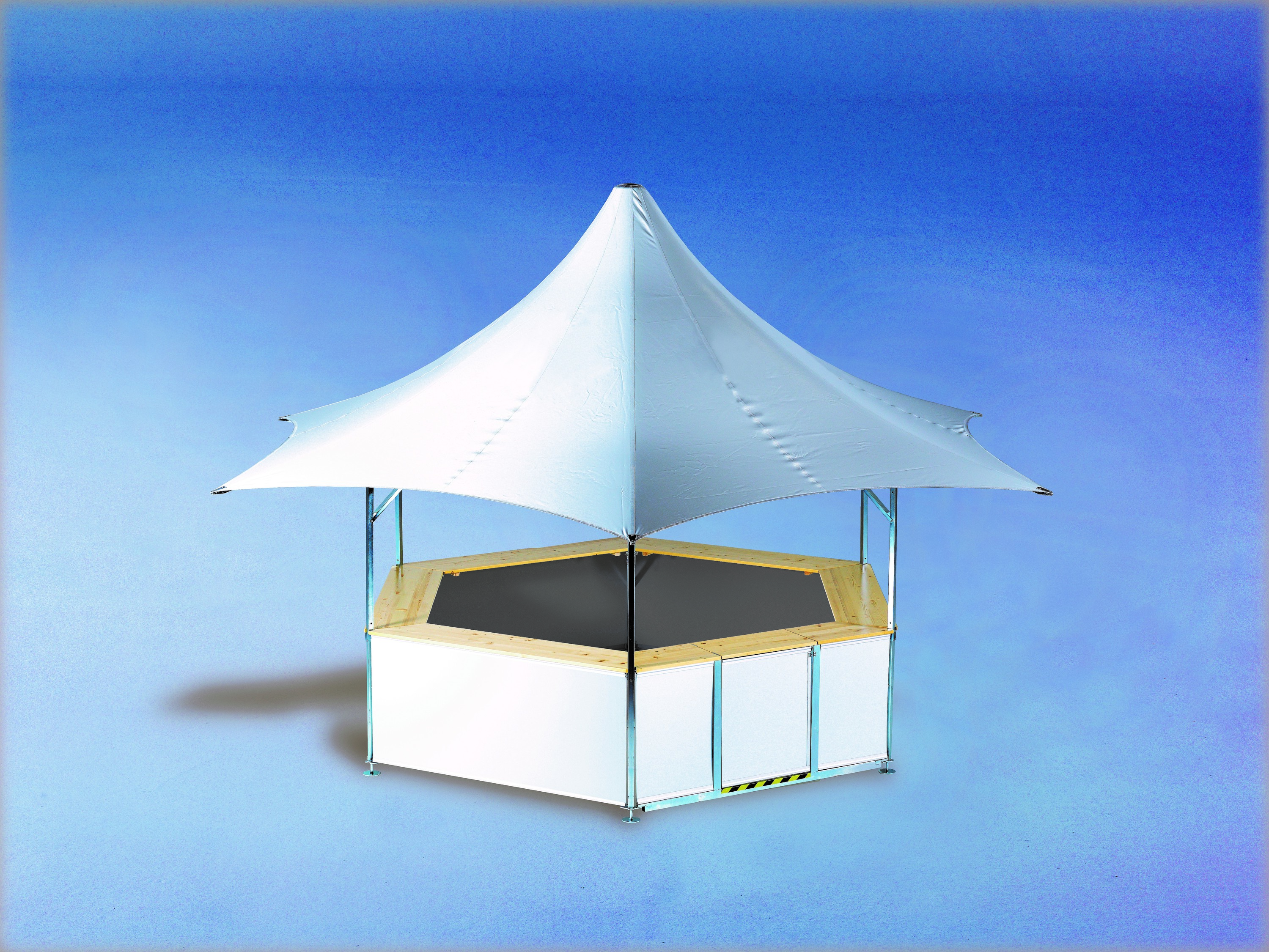 <p>Event, Mobile & Stadia Bars – Tents & Marquees – Star Pavilion</p> <p> </p> <p>Sample unbranded Star Pavilion set up – roof colour options are 10 standard colours with other colours by request.  Both roof and base panels can be printed to match your corporate identity.  Roof flags can be added too</p>