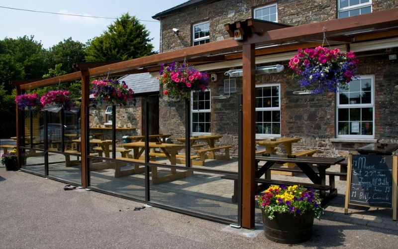 <p>Barriers & Screens – Terrace Screens – Bora.</p> <p> </p> <p>Suitable for Pub Beer Garden Patio as well as other hospitality alfresco areas.</p> <p> </p> <p>Frames & Glass are available in a variety of colours and options to include corporate branding or sponsor branding are also available.</p>