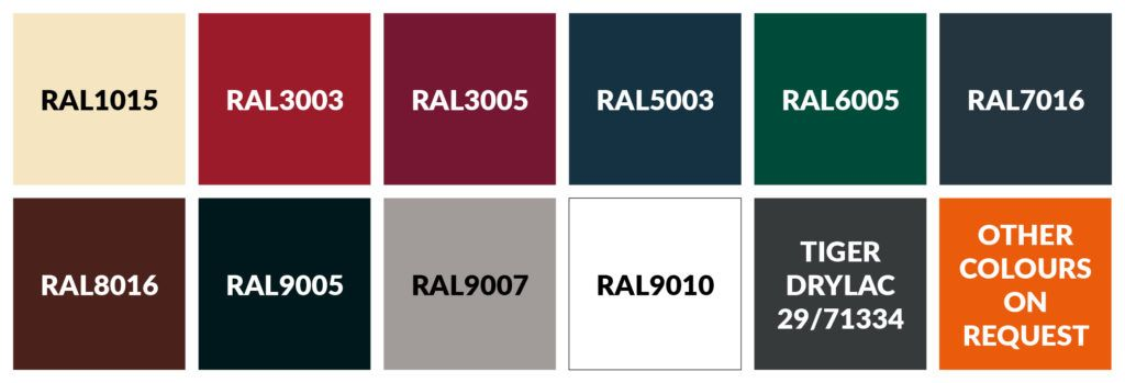 Image showing the standard frame colours for Pavement Screens are available in with RAL codes