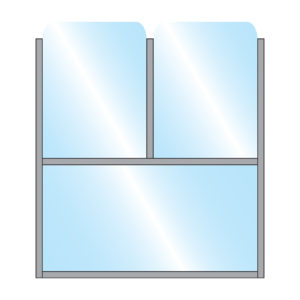 Illustration of Bora Terrace Screen Single Glass Bottom Panel with Double Glass Top Panel in Metal Frame