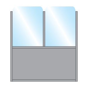 Illustration of Bora Terrace Screen with Double glass top with solid single bottom panel in grey