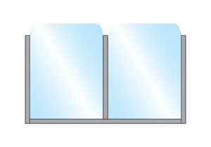 Bora Partition Glass Double Top Wall Mounted illustration