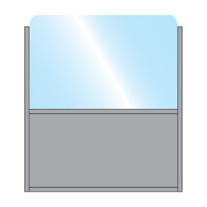 Illustration of Bora Terrace Screen with Single glass top with solid bottom panel in grey