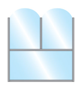 Illustration of Fohn Terrace Screen with coloured frame and glass under panel and double arch glass top