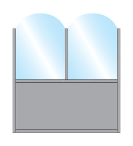 Terrace Screens Fohn Arch Top Glass Double Top on full colour bottom panel
