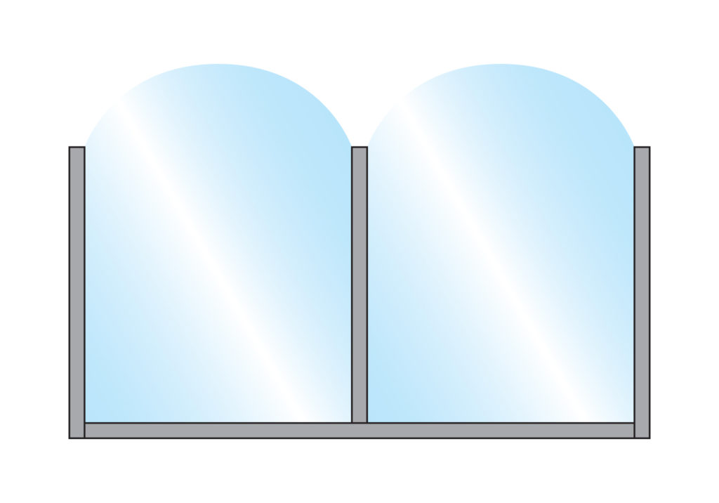 Terrace Screens Fohn Arch Top Glass Double Top Colour Example