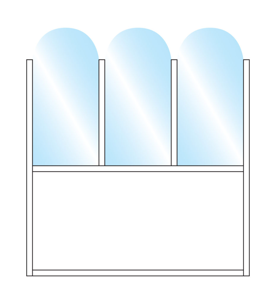 Terrace Screens Pavement Screen Fohn Arch Top Glass Triple Top Bottom Solid Panel Colour Example