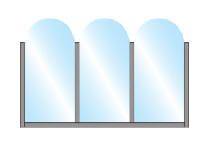 Patio Terrace Screen Fohn Arch Top Glass Triple Top Wall Mounting Colour Example