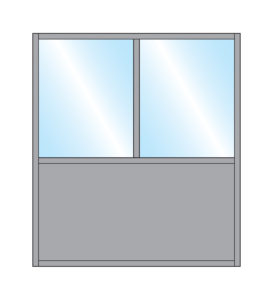 Pavement Screen Gibli Closed Top Glass Double Top Bottom Solid Panel Colour Example
