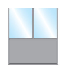 Illustration of Bora shield with Double straight glass top with solid single bottom panel in grey