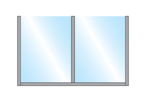 Sirocco Pavement Screen Straight Glass Double Top with metal frame for Wall Mounting illustration