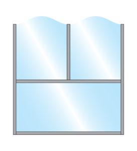 Zonda Stylish Arch Glass Double Top & single glass Bottom panel partition