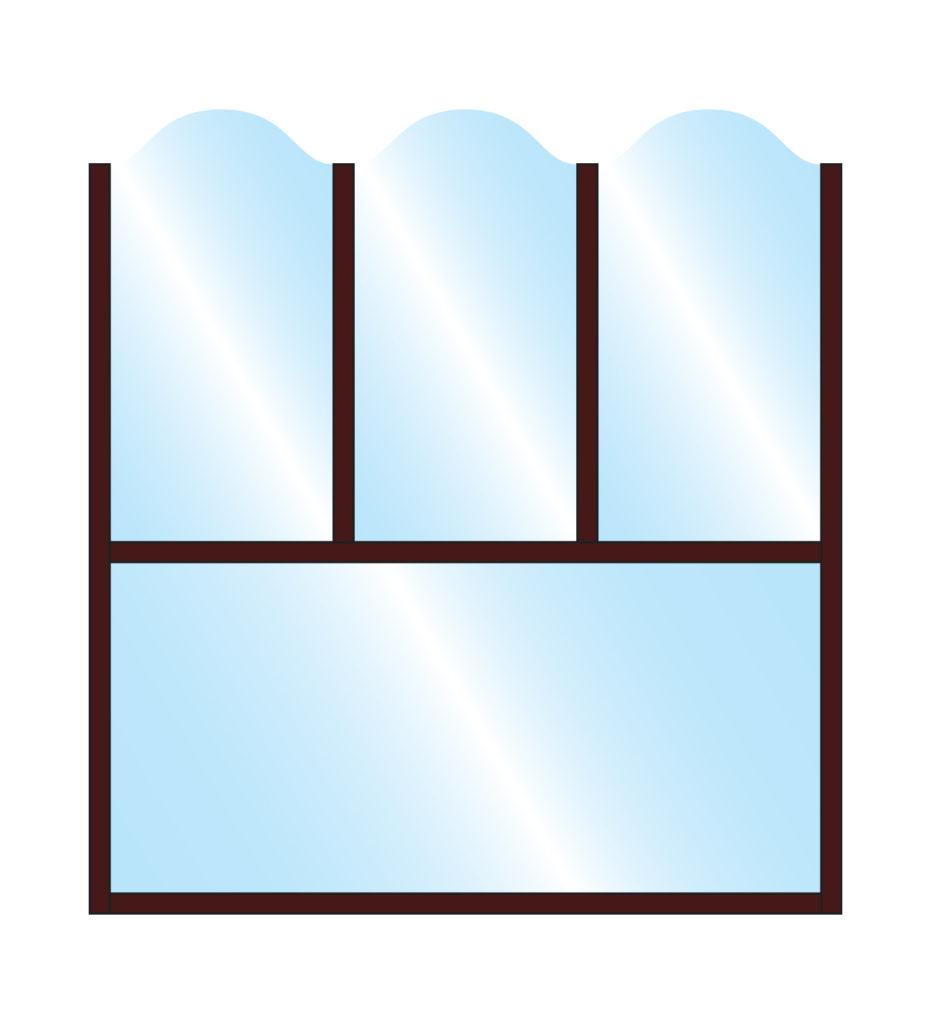 Pavement Screen Zonda Stylish Arch Glass Triple Top Bottom Colour Sample