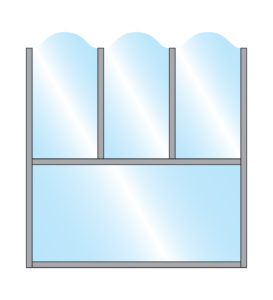 Pavement Screen Zonda Stylish Arch Glass Triple Top on single glass bottom panel