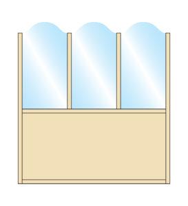 Pavement Screen Zonda Stylish Arch Top Glass Triple Top Bottom Solid Panel Colour Sample
