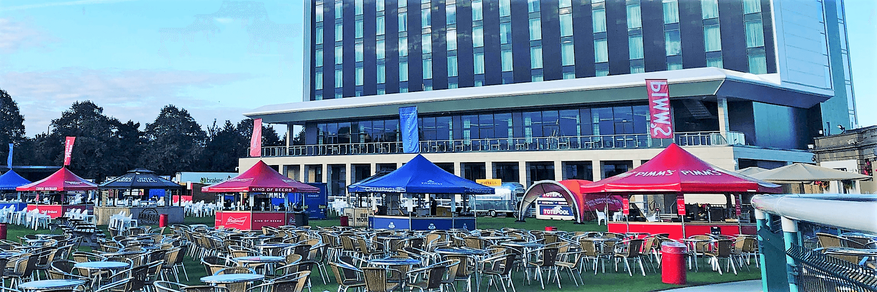 <p>Event, Mobile & Stadia Bars – Tents & Marquees – Pavilion Bars – Octagonal – Various Drinks Brands</p> <p> </p> <p>Outdoor Event Bars at Doncaster Racecourse</p> <p> </p> <p>Octagonal Pavilions branded for different drinks brands – including Roof Flags</p>