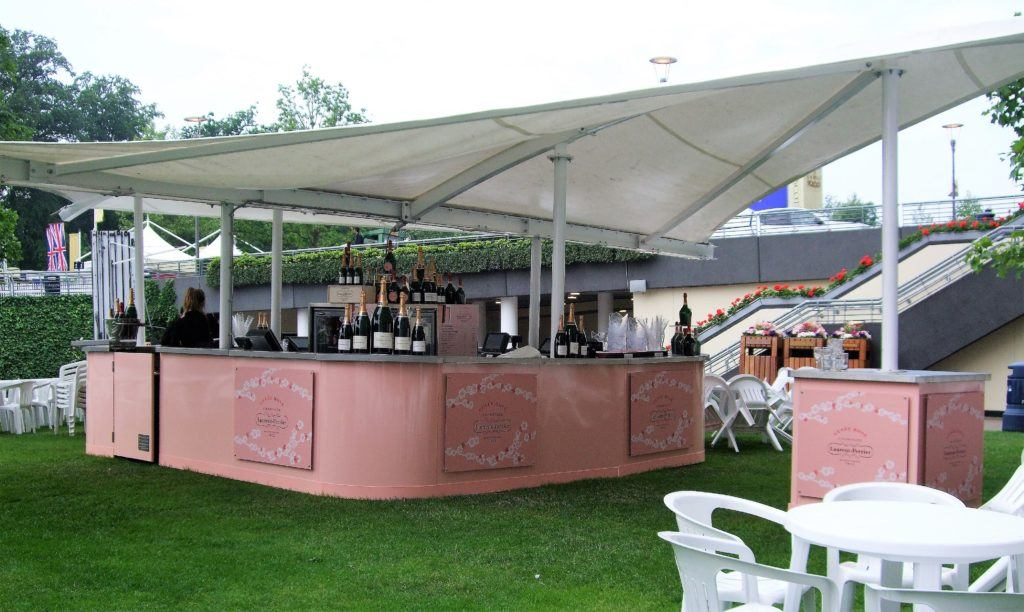 Elegant Laurent Perrier Sail & Canopy Outdoor Champagne Bar with branding refrigeration