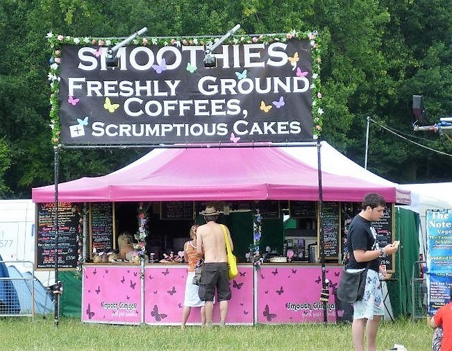 <p>Event, Mobile & Stadia Bars – Tents & Marquees – Octagonal Pavilion</p> <p> </p> <p>Festival Bar Food Outlet</p> <p> </p> <p>Pink Bar for Smooth Criminals used at a variety of UK festivals serving smoothies, coffee, scrumptious cakes etc</p>
