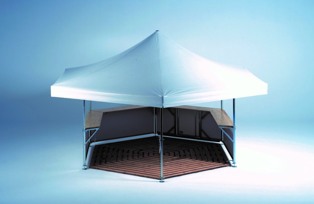 Studio image of 6-sided Pavilion set up with no branding – roof and base panels are plain white demonstrating the wooden flooring accessories option