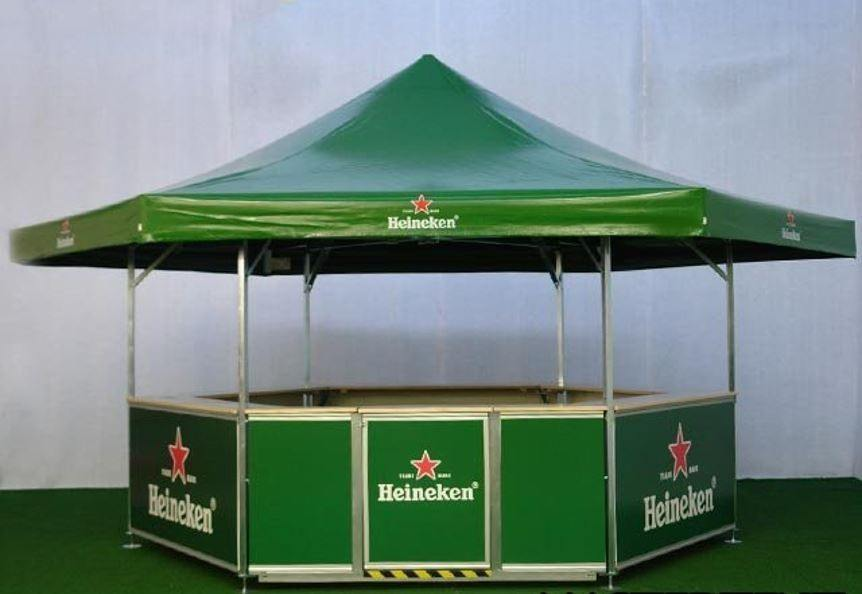 <p>Event, Mobile & Stadia Bars – Tents & Marquees – Heineken Bar</p> <p> </p> <p>Hexagonal Pavilion branded for Heineken to be used as an outdoor event bar at racecourse and other sporting events and venues such as cricket grounds etc</p>