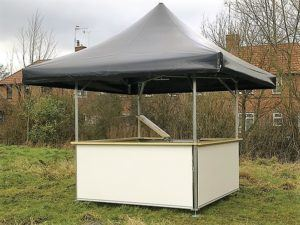4-sided plain unbranded square pavilion bar with black roof and plain white base panels