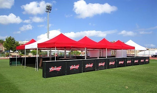 Bespoke Budweiser Drinks Bar with bespoke side walls and set-up for specific outdoor event