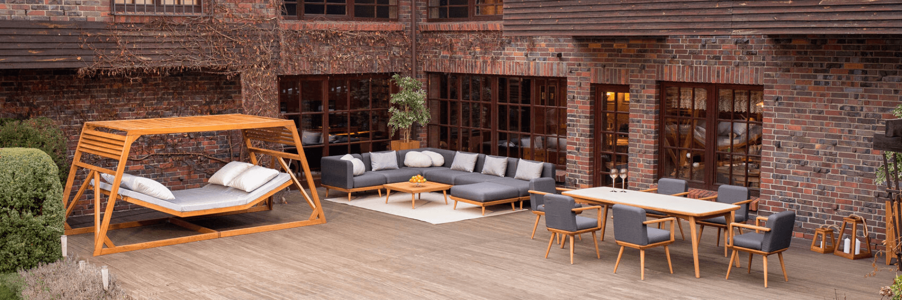 <p>Outdoor Furniture Leisure Collection Tempo Modern Range Display.</p> <p> </p> <p>Displaying a range of Leisure Collection Furniture from our Tempo, Progetto and additional items. Includes garden terrace hammock, a Progetto Table & six Armchairs as well as Tempo Sofas, Armchair modular set with cushions.</p> <p> </p> <p>Fabric Cushions, nice to touch and clean. Durable in external conditions.</p> <p> </p> <p>A demonstration of how 2 of our unique sets within the Leisure Collection range compliment each other on a patio, decking area whether at a hotel or in a domestic setting.</p>