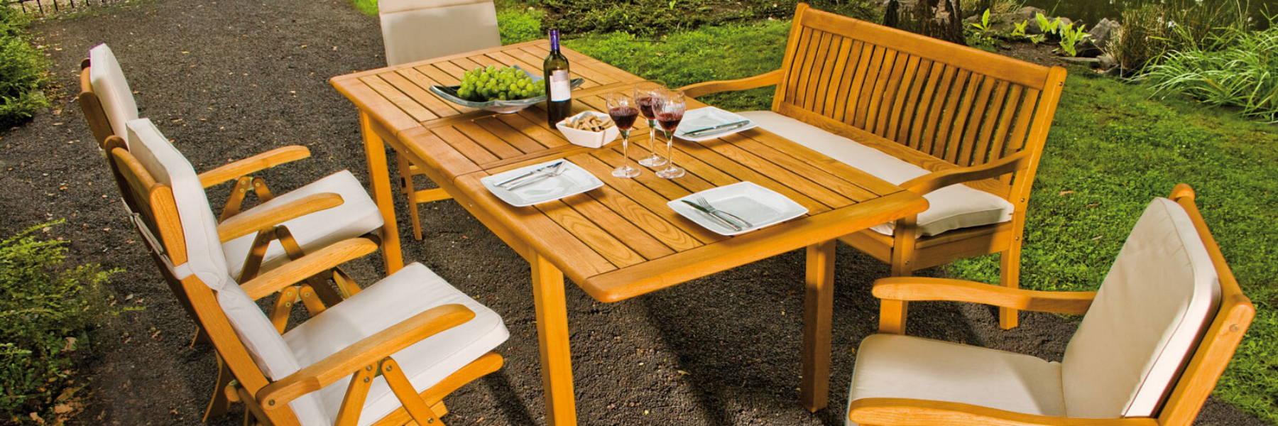 <p>Outdoor Furniture Wooden Dining Collection Amalfi.</p> <p> </p> <p>Relaxed Alfresco Dining Venue Furniture.</p> <p> </p> <p>Wooden Outdoor Dining Furniture includes armchairs, benches, tables of varying sizes. Warm, comfortable & durable in all weathers.</p>