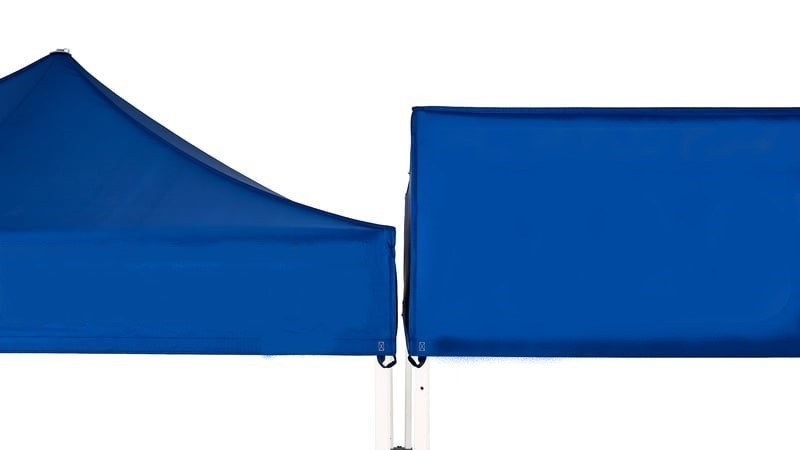 Cube valance compared to basic folding tent valance for advertising space.