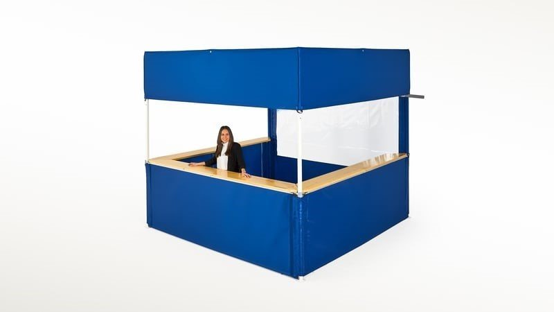Blue Square Tent with side walls, counters and unique square roof.