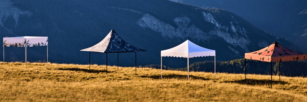 Outdoor showroom of Folding Tent Range including Cube Gazebo