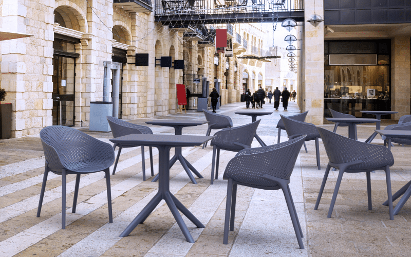 <p>Outdoor Furniture Contemporary Collection – Aventura Dining Set.</p> <p> </p> <p>Table and Chairs for indoor and outdoor use available as a set or chairs and tables can be used as standalone items. Capturing essential features such as lightness, functionality, ergonomics and care for the environment.</p>