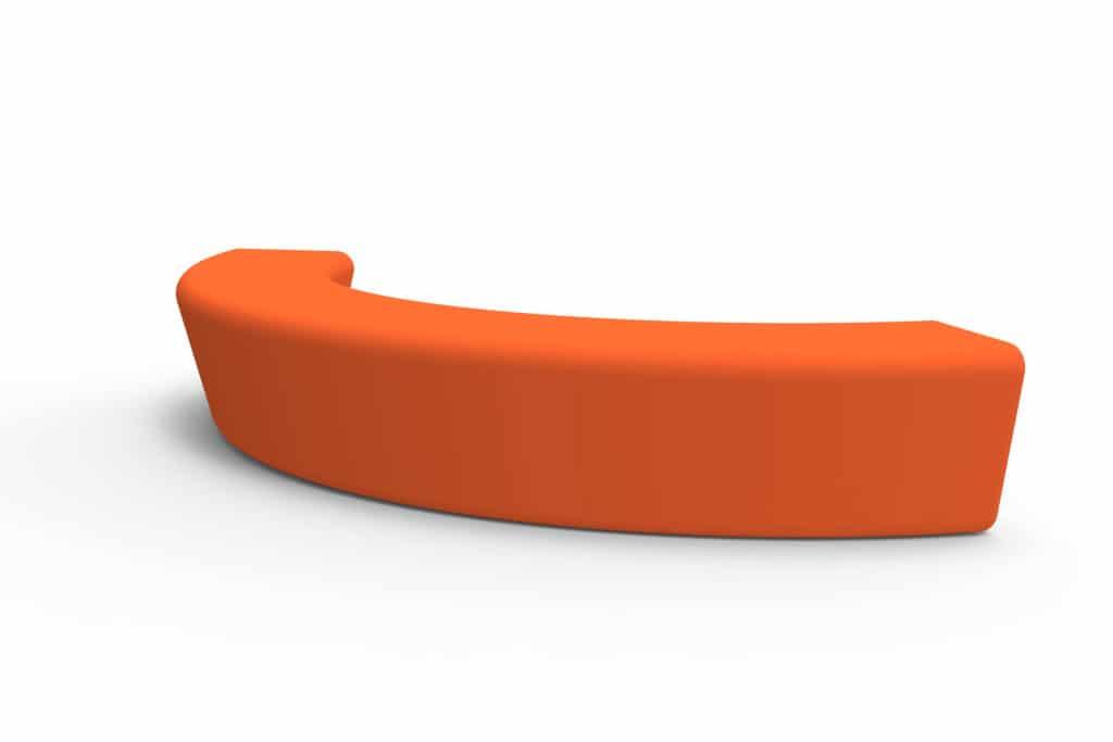 Outdoor Commercial Furniture Contemporary Collection – Hermosa Bench – Orange Semi-circular