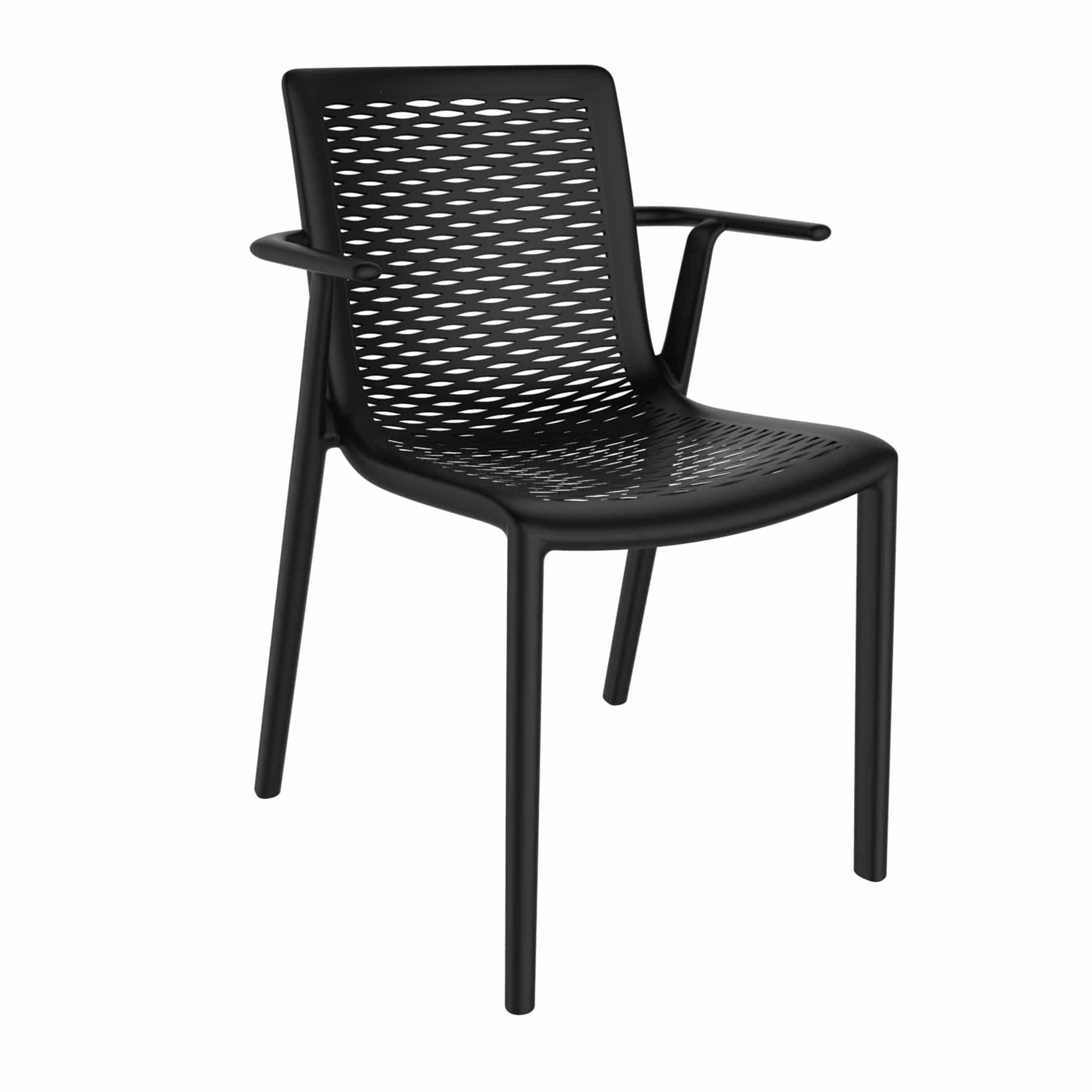 <p>Outdoor Furniture Contemporary Collection – Manteca Chair with arms – Black.</p> <p> </p> <p>Chair specially designed for indoor and outdoor available in a variety of colours, stackable, capturing essential features such as lightness, stability, functionality, ergonomics and care for the environment. Unassuming in design and look</p>