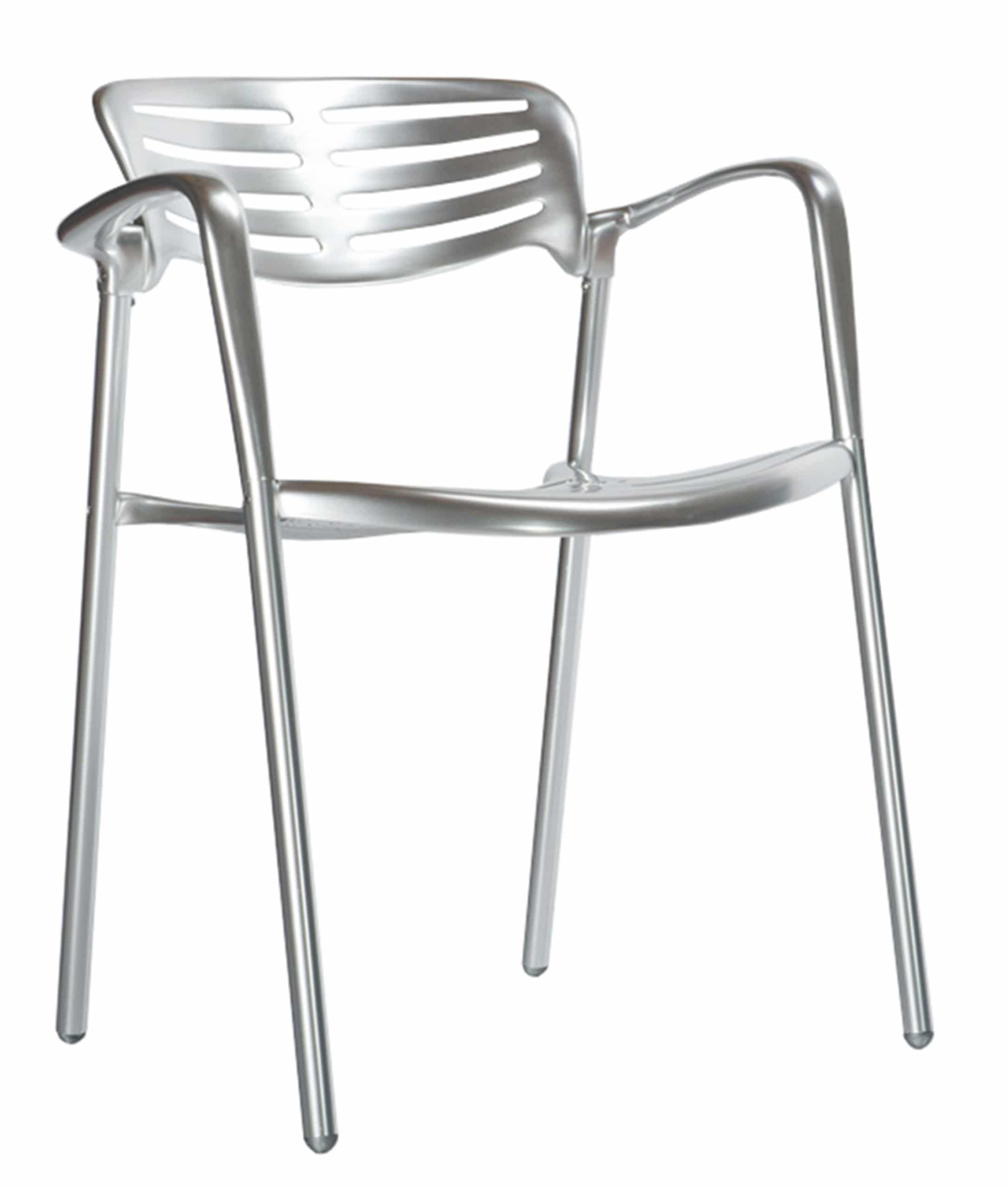 <p>Outdoor Furniture Contemporary Collection – Modesto Polished Aluminium Chair.</p> <p> </p> <p>Chair for indoor and outdoor use available in a polished aluminium, timeless hospitality and catering classic, capturing essential features such as lightness, functionality, ergonomics and care for the environment.</p>