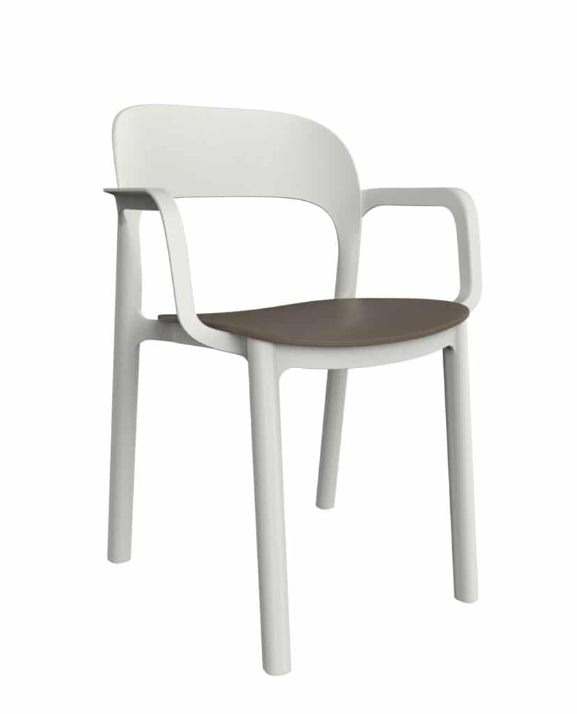 Contemporary Collection Commercial Outdoor Furniture – Montana Armchair – White Armchair & Chocolate Seating
