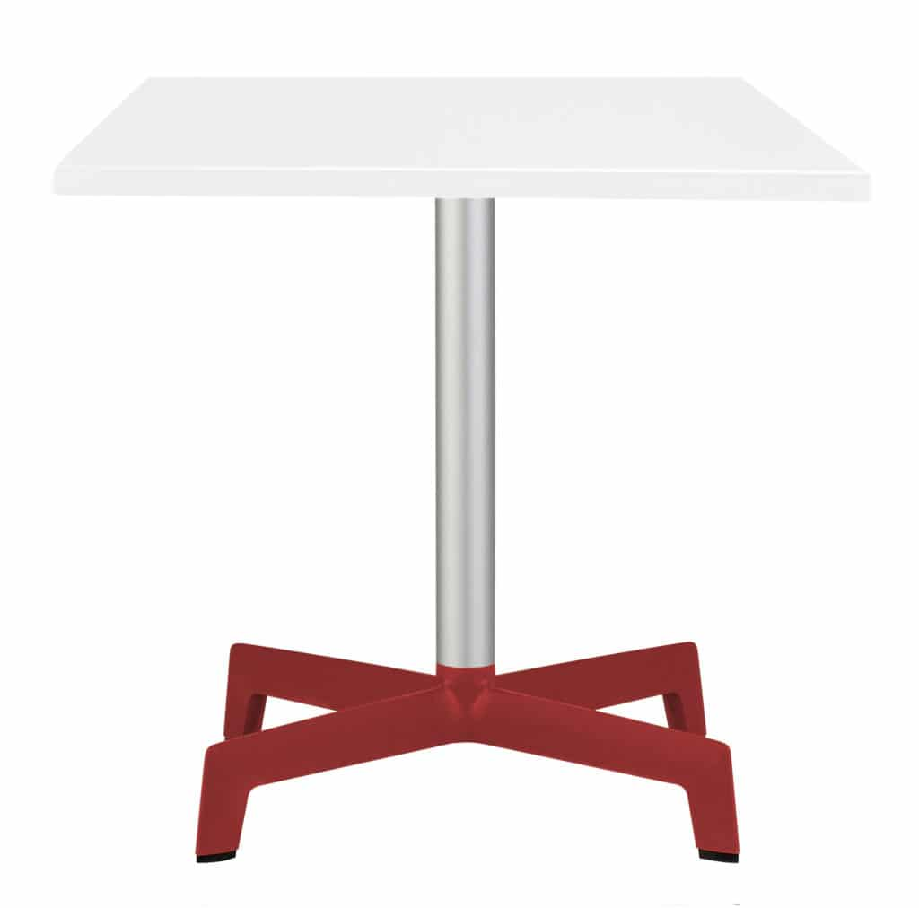 Outdoor Furniture Contemporary Collection – Navarre Commercial Dining Table – Single Pedestal – Red Feet